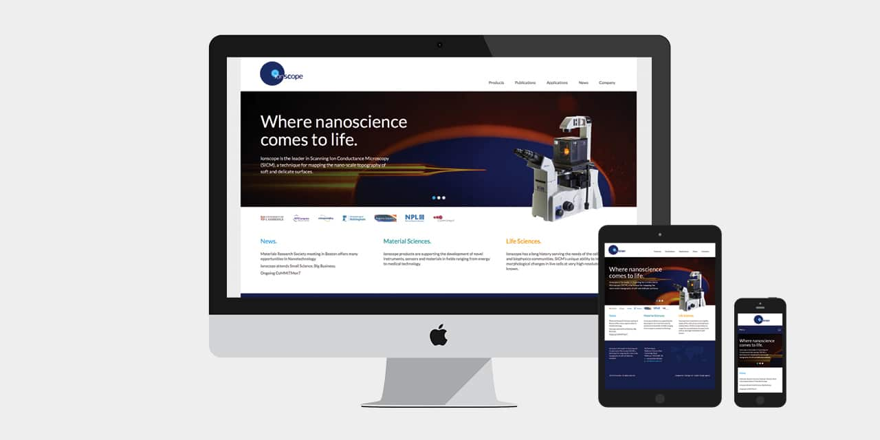 Responsive Homepage Design for Ionscope Website Design by 2idesign Graphic Design Agency Cambridge