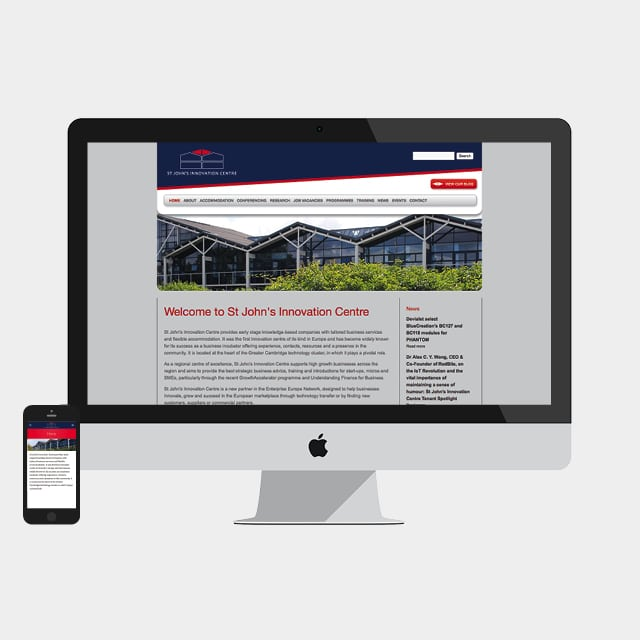 Homepage Design for St John's Innovation Centre Website Design by 2idesign Graphic Design Agency Cambridge